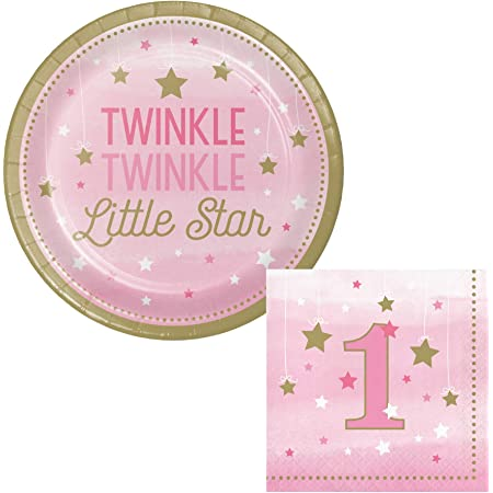 Twinkle Twinkle Little Star Girl 1st Birthday Party Supplies Small Napkins