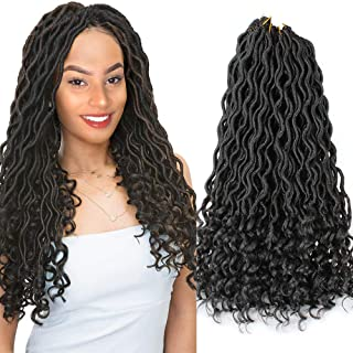 XiuYuan 6 Pcs/Lot Goddess Ombre Faux Locs Crochet Hair With Curly Ends 18 Inch Synthetic Crochet Braids Hair Extensions (1B#)