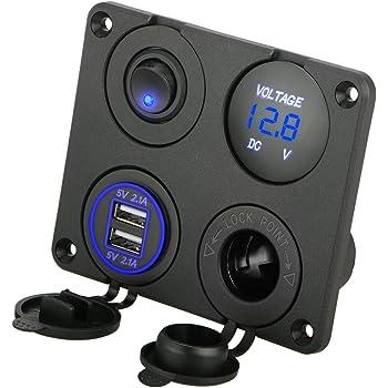 Linkstyle 4 in 1 Charger Socket Panel, 12V 4.2A Dual USB Charger Socket Power Outlet & LED Voltmeter & Cigarette Lighter Socket & LED Lighted ON Off Rocker Toggle Switch for Car Marine Boat RV Truck