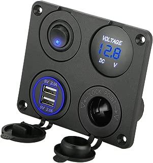 Linkstyle 4 in 1 Charger Socket Panel, 12V 4.2A Dual USB Charger Socket Power Outlet& LED Voltmeter & Cigarette Lighter Socket & LED Lighted ON/Off Rocker Toggle Switch for Marine Truck (Blue Light)