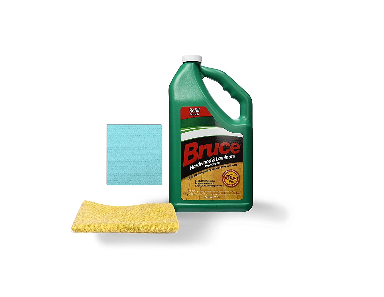 Bruce 64 fl. oz. Hardwood and Laminate Floor Cleaner Refill with One Microfiber Cleaning Cloth and One Sponge Cloth | Cl