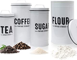Aesthethic Farmhouse Kitchen Canister Set For Kitchen Counter - Set of 4 Airtight Flour, Sugar, Coffee And Tea Containers ...