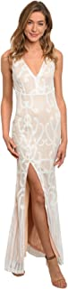 Gorgeous Elegant Ivory White Lace Nude Cocktail Formal Gown Open Back Front Thigh Slit