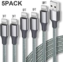 Guidit iPhone Charger MFi Certified Lightning Cable 5 Pack (3/3/6/6/10FT) Nylon Braided USB Charging Cable,data Transfer Cord,Compatible with iPhone 11/11 Pro Max/XS MAX/XR/XS/X/8/7/Plus/6S/iPad