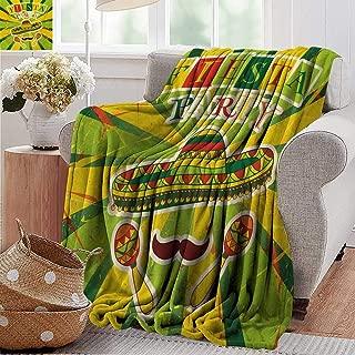 PearlRolan Summer Blanket,Fiesta,Sprites with Sombrero Maracas Mustache Mexican Hand Drawn Illustration,Green Yellow Vermilion,Lightweight Breathable Flannel Fabric,Machine Washable 60