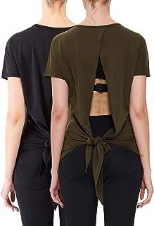 Neleus Women's Open Back Shirts Backless Blouse Dry Fit Yoga Top