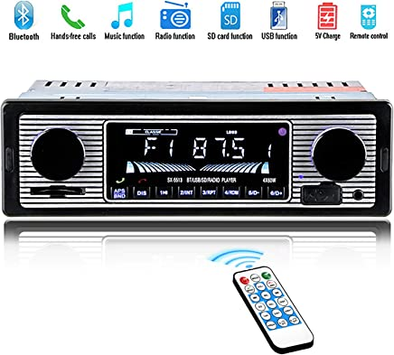 $27 Get Car Stereo for Bluetooth, Single Din, 60Wx4 Hands-Free Calling FM Radio Receiver, USB/SD/AUX Port, Support MP3/WMA/WAV, Dual Knob Audio Car Radio Player, Built-in Microphone, Wireless Remote Control