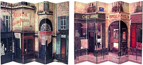 Oriental Furniture 6 ft. Tall Double Sided French Cafe Canvas Room Divider 6 Panel