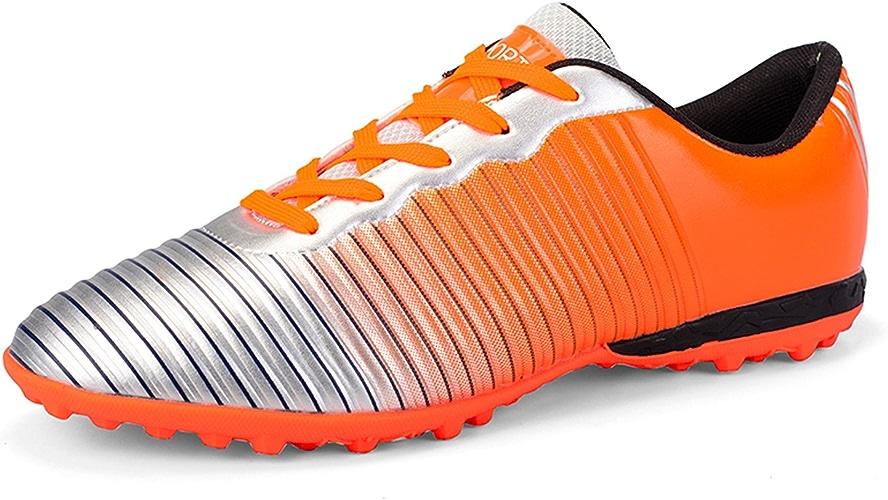 QLVY Chaussures pour Hommes pour Enfants Chaussures de Sport Football Spikes Fond Plat et Confortable Orange 43