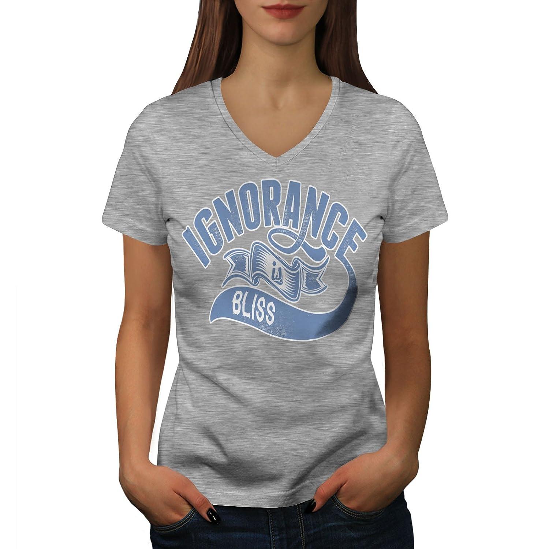 Wellcoda 無知 あります 至福 スローガン 婦人向け S-2XL リンガーTシャツ