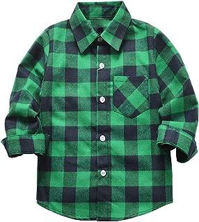 Kids Toddler Boys Long Sleeve Button Down Plaid Shirts