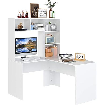 Bureau Table d'ordinateur d'angle Bibliothèques Table PC d'étude de Travail en L avec 5 Compartiments et 4 Tiroirs Bois Morden Blanc 142,5x107,8x124,7cm
