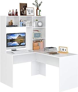 Bureau Table d'ordinateur d'angle Bibliothèques Table PC d'étude de Travail en L avec 5 Compartiments et 4 Tiroirs Bois Mo...