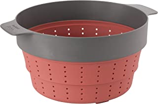 Berghoff 3950152 Multi-Functional Collapsible Silicone Steam Basket and Strainer, Pink and Grey