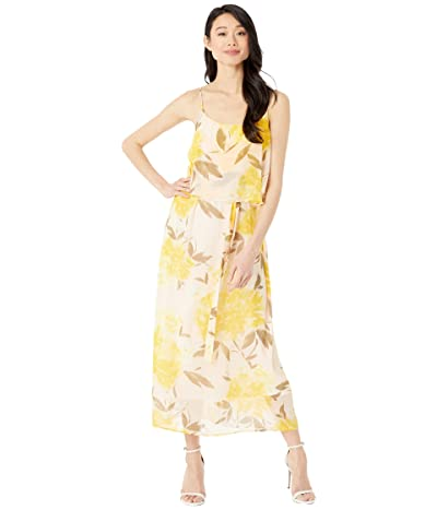 American Rose Adley Floral Print Midi Dress (Peach/Yellow) Women