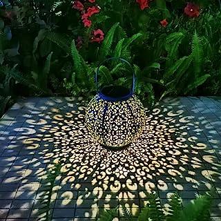 چراغ آویز در فضای باز فانوس خورشیدی چراغ آویز فلزی تزئینی باغ چراغ میز ضد آب برای پاسیو ، حیاط ، تزئینات مهمانی (1 بسته ، آبی تیل)