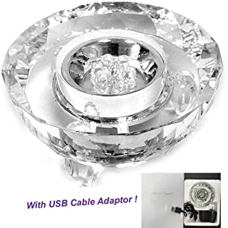 Amlong Crystal 7 LED Colored Lights Illuminated Round Crystal Display Stand