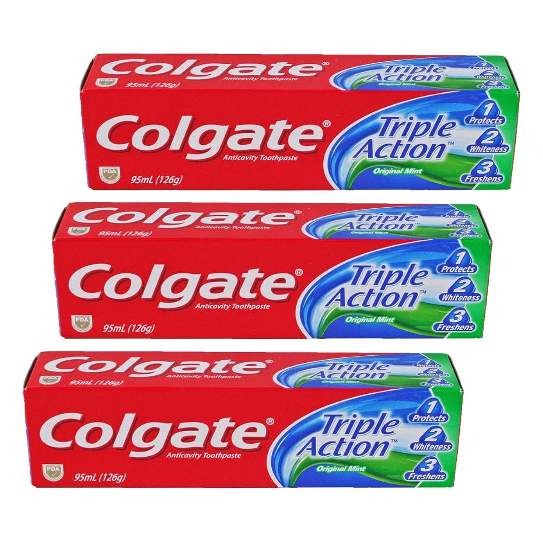 パイル十億ストロークコルゲート Colgate Triple Action (95mL)126g 3個セット [並行輸入品]