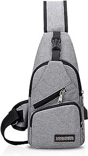 FANDARE Unisex Schultertasche Herren Damen Brusttasche Sling Bag Rucksack mit USB Umhängetasche Sporttasche für Wandern,Ab...