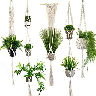 Macrame Plant Hangers Set of 5 - Modern Design - Handmade Organic Cotton Plant Holder Home Decor - Succulent Flower Pot - Good for Patio, Room, Balcony, Bedroom and Kitchen - Gift Box Included
