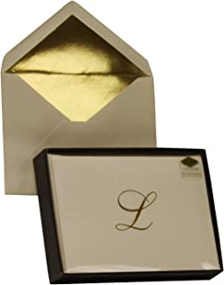 Designer Greetings Monogram Boxed Note Cards, Personalized Stationery Set (10 Count), Letter L