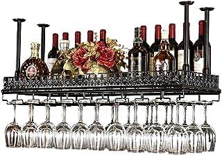 JFFFFWI Casier à vin - Support de Verre à vin Suspendu en Fer de Style Simple Suspendu Porte-Bouteilles de vin Barre de Ra...