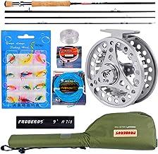 PROBEROS Pesca con Mosca Combo De Caña Y Carrete - Pesca con Mosca Kit Completo - 4-Piezas 2.7m Caña + 3/4wt Carrete De La Mosca con Bolsa De Transporte