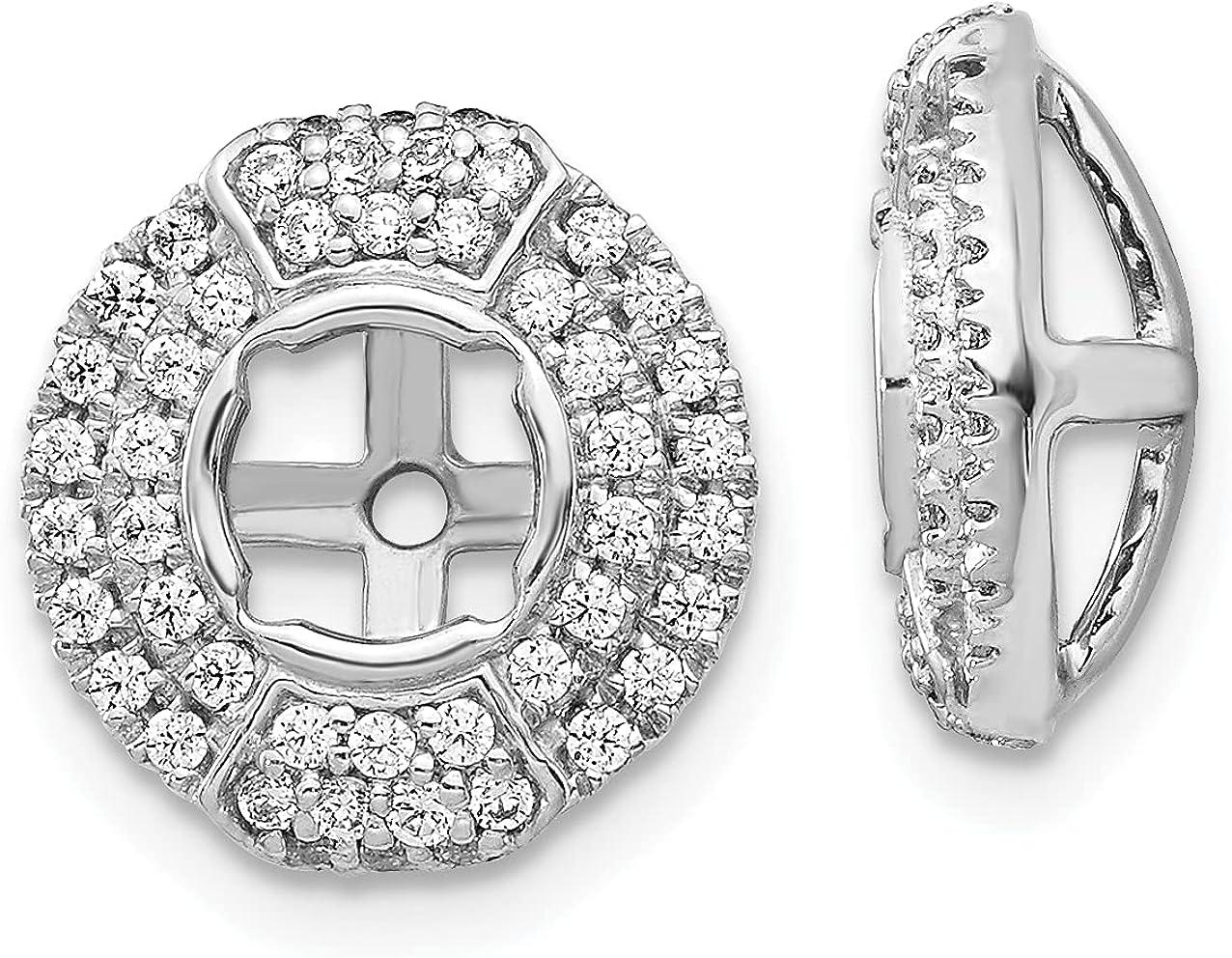 Lex & Lu 14k White Gold Diamond Round Earring Jackets LAL849