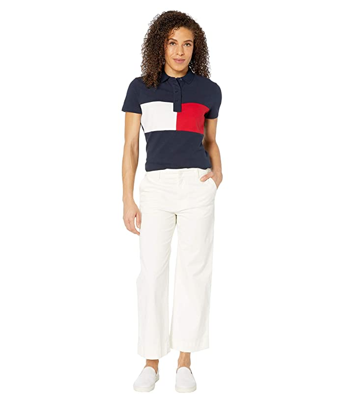 Tommy Hilfiger Adaptive  Polo Shirt with Magnetic Buttons (Core Navy/Bright White/Tango Red) Womens Clothing