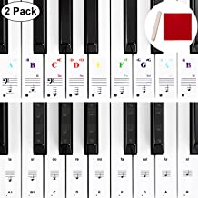 Piano Sticker Piano Keyboard Stickers Piano Stickers for Keys 32, 37, 54, 61, 88 Replacement Piano Stickers with Mounting Stick Wiping Cloth Color Piano Stickers Black Piano Stickers 2 Pack