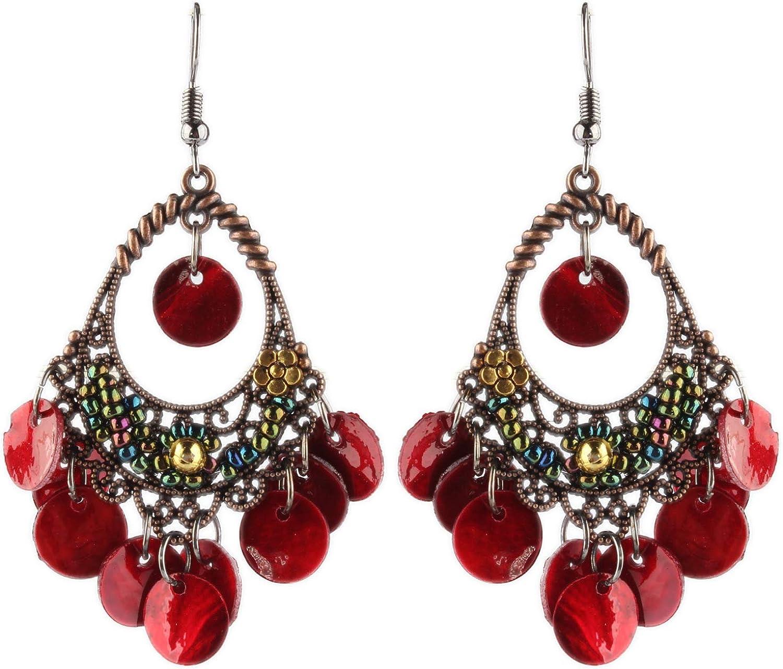 Ethnic Lightweight Coin Chandelier Dangle Earrings with Shell Disc Charms Drop Bohemian Filigree Tassel Earrings for Women Girls Boho Jewelry