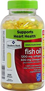 Member's Mark Enteric Double Strength Fish Oil 1200mg (200 softgels)