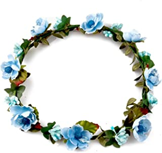 Bridal Beach Flower Wreath Hair Accessories Headdress Headbands Flower Crown for Wedding,Blue
