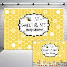 COMOPHOTO Sweet As Can Bee Baby Shower Backdrop for Photography 7x5ft Honeycomb Christening Baptism Bumble Bee-Day Photo Background Party Decorations Backdrop