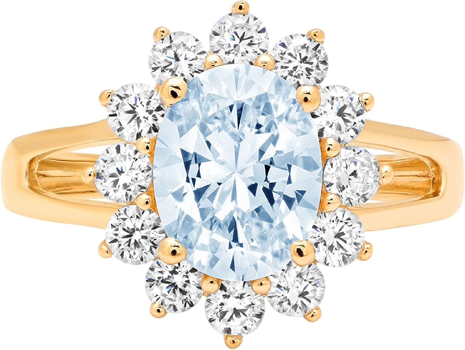 2.36ct Brilliant Oval Cut Solitaire Accent Halo Genuine Flawless Natural Sky Blue Topaz Gemstone Engagement Promise Anniversary Bridal Wedding Ring Solid 18K Yellow Gold