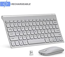 Seenda Small Compact Rechargeable Wireless Keyboard and Mouse for Windows, Silver