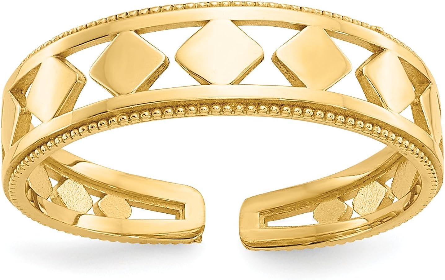 14k Yellow Gold Geometric Diamonds in Split Shank Toe Ring
