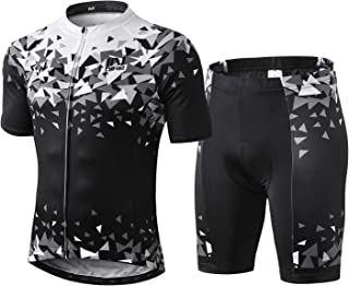 INBIKE Men Cycling Jersey Set Short Sleeve Breathable Bike Shirt with Padded Shorts