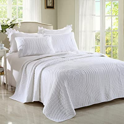 Aivedo Quilt Set 100% Cotton Embroidered Quilte...