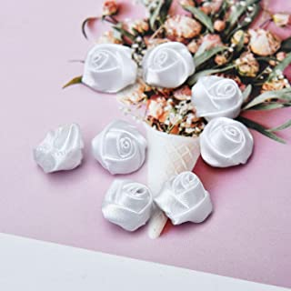 Monrocco 100 Pieces Mini Size White Satin Rose Buds DIY Sewing Craft Ribbon Flower Wedding Home Party Decoration