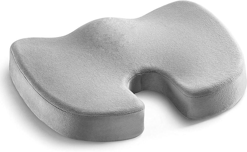 汚染ラフ睡眠炭素座布団 低反発クッション NaturaWell 腰楽クッション 体圧分散 骨盤サポート姿勢矯正 座り心地抜群 オフィス椅子用 車用 自宅用クッション グレー