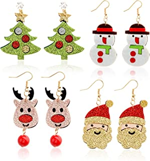 SUNNYOUTH 10 Pairs Christmas Drop Dangle Earrings Holiday Jewelry Set for Women Girls