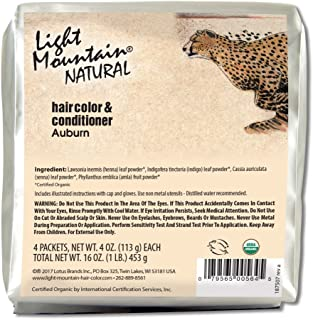 Light Mountain Natural Bulk Hair Color and Conditioner, Auburn, 16 Ounce