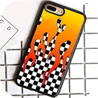 Checkered Checkerboard Flame Phone Case for iPhone 7 8 6 6s Plus X 5 5s SE Cover TPU Black Capa for iPhone XR XS Max,for iPhone 7plus,7002