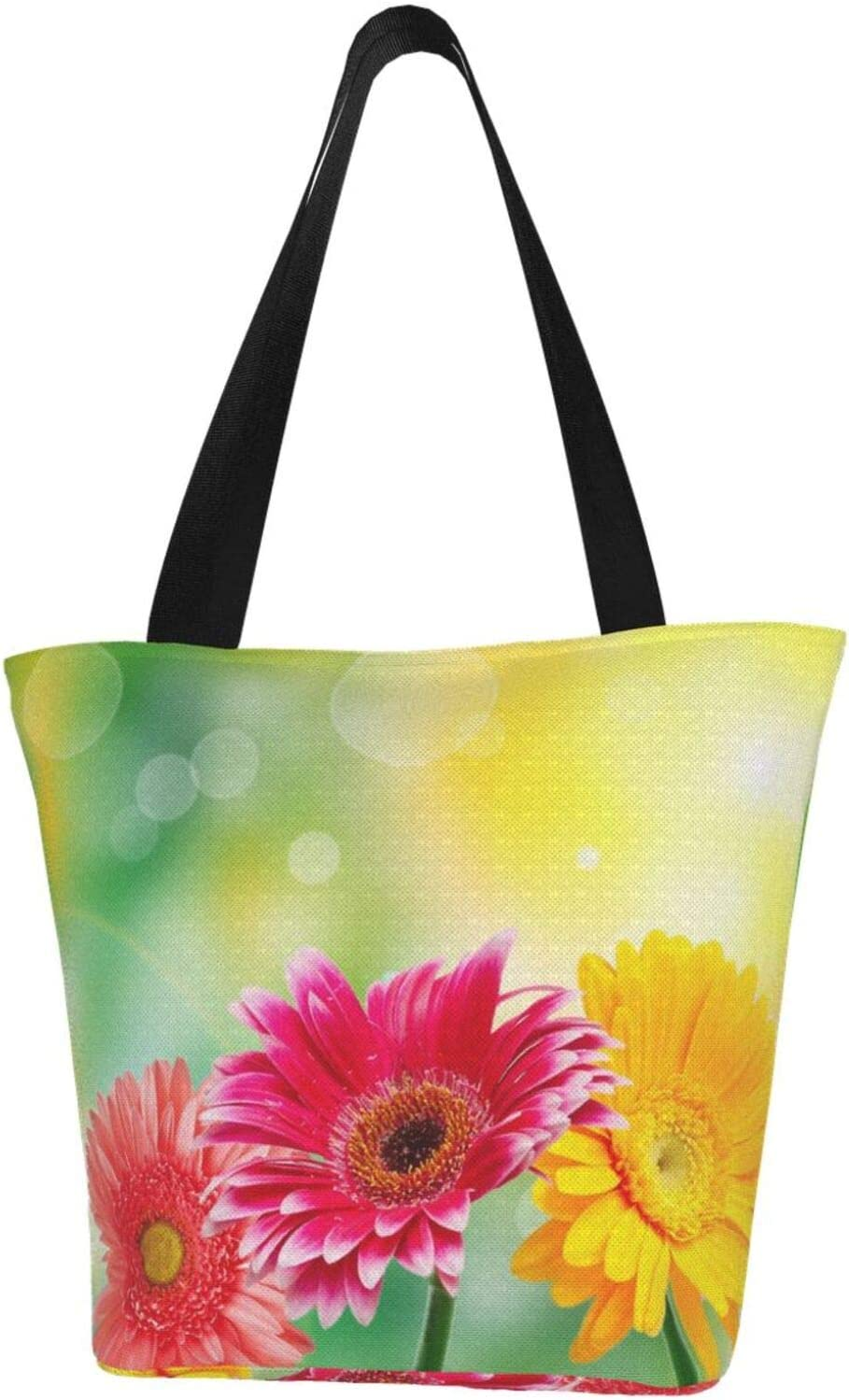 AKLID Colored Daisy Extra Ranking TOP19 Sales of SALE items from new works Large Canvas Water Bag Resistant Tote