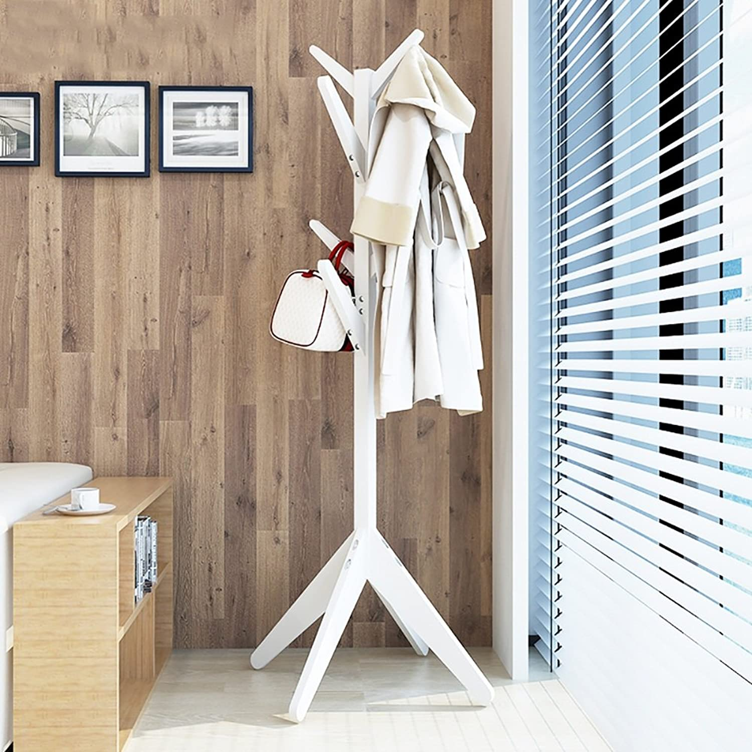 GWDJ Coat Rack Solid Wood Creative Coat Rack Floor-Standing Bedroom Simple Hanger Living Room Clothing Storage Rack Coat Rack Shelf (color   White)