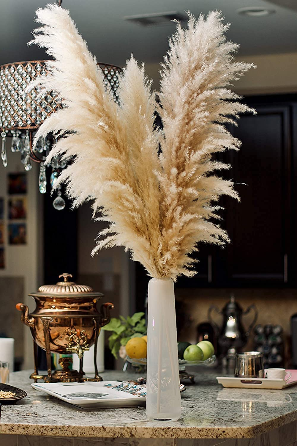HAPPYPOP Pampas Grass 3 Fluffy stem Natural - Tall Special price for a limited time Denver Mall Dried 48