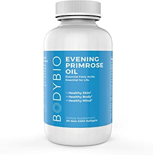 BodyBio Evening Primrose Oil - Natural Gamma Linolenic Acid for Healthy Skin & Hormone Balance - Non-GMO, Cold pressed, 90 softgels