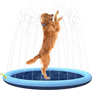 Flyboo Splash Sprinkler Pad for Dogs Kids,59'' Thicken Dog Pool with Sprinkler,Pet Outdoor Play Water Mat Toys for Dogs Ca...