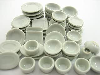Set 50 Mixed White Ceramic Plate Dish Bowl Dollhouse Miniature Kitchen 13347 by Wonder Miniature